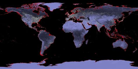 A global map indicating areas impacted by a six meter rise in sea levels. Source: NASA.