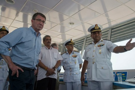 Secretary of Defense Ash Carter speaks with Indian Naval Officers as he tours Indian Naval Station Karwar as part of a visit to the Indian aircraft carrier INS Vikramaditya, April 11, 2016. Carter is visiting India to solidify the rebalance to the Asia-Pacific region.(Photo by Senior Master Sgt. Adrian Cadiz)(Released)