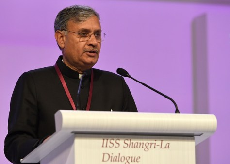 """India Minister of State Defense Rao Inderjit Singh speaks during the plenary session at the 14th Asia Security Summit, the International Institute for Strategic Studies (IISS) Shangri-La Dialogue 2015 in Singapore on May 30, 2015. The United States on May 30 called for an """"immediate and lasting halt"""" to reclamation works in disputed waters in the South China Sea, saying Beijing's behaviour in the area was """"out of step"""" with international norms. AFP PHOTO / ROSLAN RAHMAN (Photo credit should read ROSLAN RAHMAN/AFP/Getty Images)"""