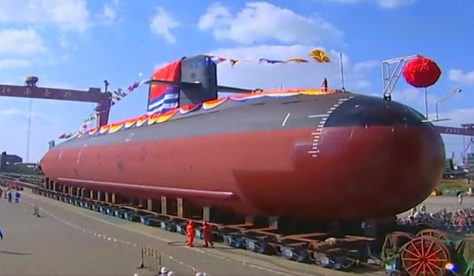 Type 039B Yuan-class submarine during rollout at the Jiangnan Shipyard on Changxing Island.