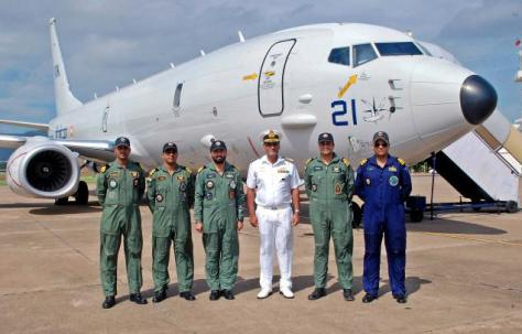 Boeing P8I long range maritime reconnaissance and anti-submarine warfare aircraft of the Indian Navy being welcomed at INS Dega in Visakhapatnam. Photo by The Hindu.
