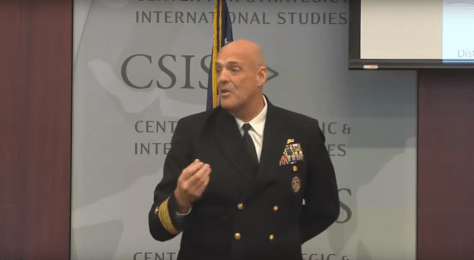 Rear Admiral Girrier, Director of N99, delivers a presentation on the future of naval unmanned systems at the Center for Strategic and International Studies.