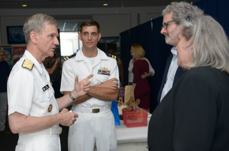 160621-N-YO707-178 Washington, D.C. (June 21, 2016) U.S. Navy Vice Adm. Philip Cullom, deputy CNO for fleet readiness and logistics, speaks with Prof. Neil Gershenfeld, second from right, director of MIT's Center for Bits and Atoms during the Capitol Hill Maker Faire in Washington, D.C., June 21, 2016. The Faire showcased robotics, drones, 3D printing and printed art. (U.S. Navy photo by Mass Communication Specialist 2nd Class Cyrus Roson/ Released)