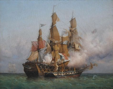 East Indiaman Kent battling Confiance, a privateer vessel commanded by French corsair Robert Surcouf in October 1800, as depicted in a painting by Ambroise Louis Garneray. (Wikimedia Commons)