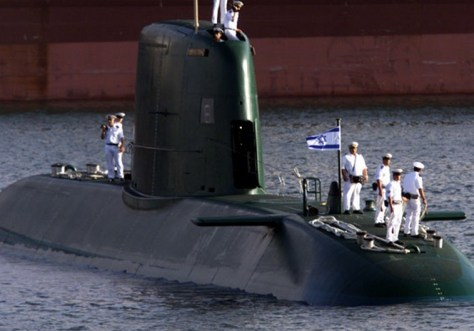 A Dolphin-class submarine arrives in the port of Haifa. Source: Reuters