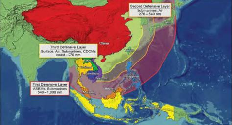 Chinese Active Defense Layers (Office of Naval Intelligence graphic). Note that the range lines reflect where PLA aircraft and submarines might be expected to operate in wartime based on evidence to date. While PLA aircraft would be unlikely to fly further east from the second layer's line if U.S. and allied air coverage from bases along the Second Island Chain was strong, the same might not be true for PLAN SSNs. Also note that the maritime approaches to Luzon and the northern/central Ryukyus fall within the PLA's middle layer, and Taiwan and the southern Ryukyus within the inner layer.