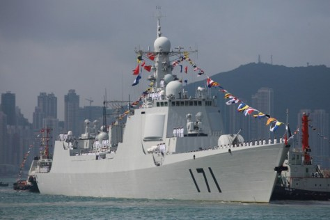 Chinese missile destroyer Haikou (171) is seen while docking in Hong Kong on April 30, 2012. (Aaron Tam/AFP/Getty Images)