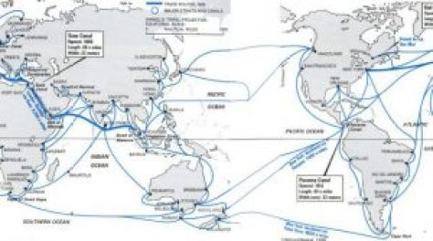 Chokepoints and popular world trading routes illustrate the complicated nature of the maritime domain. (Atlantic Council)