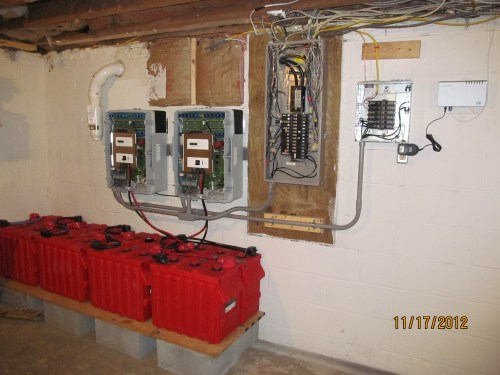 small resolution of battery bank inverters and emergency breaker panel on diy solar installation