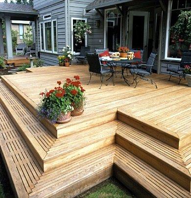 wood deck into a concrete patio