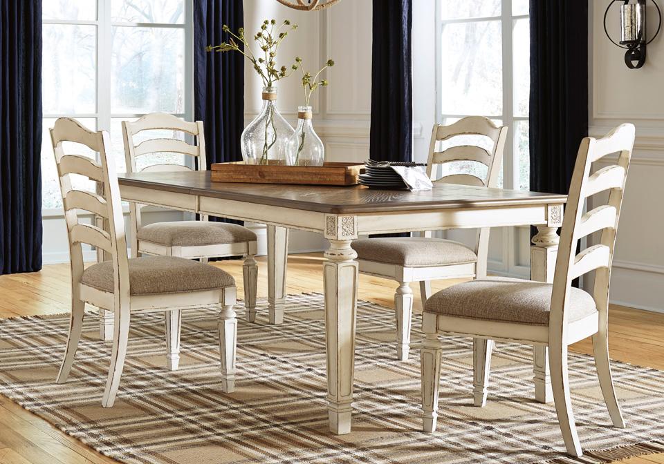 Realyn Chipped White 5pc Dining Set Cincinnati