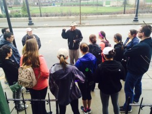 Dr. Mark giving a Social Justice Walking Tour Photo: SNHU