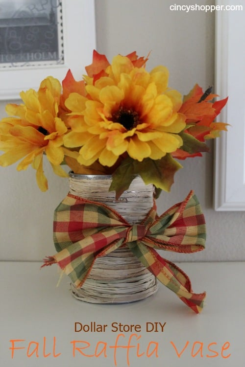 DIY Dollar Store Fall Raffia Vase by Cincyshopper.com