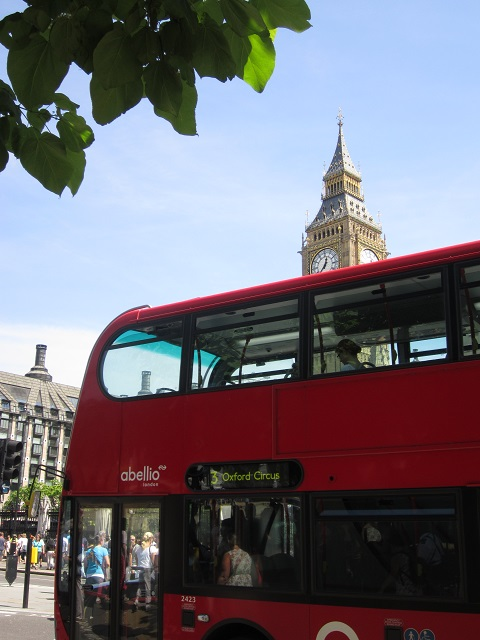 Big Ben and a London double-decker bus