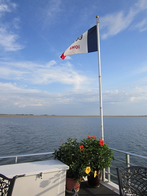 Iowa flag on J&K houseboat