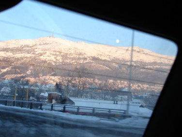 "a ""through a car window"" shot of the Ulriken moon - December 29, 2009, 3:14 pm"