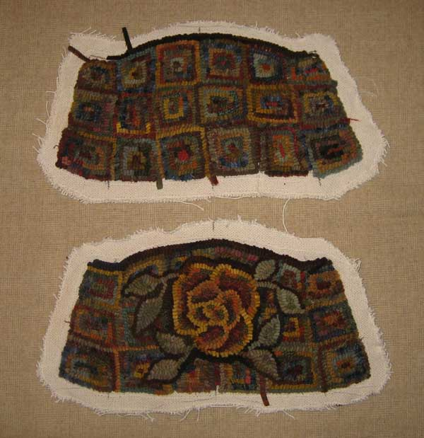 Rug hooked purse before assembly