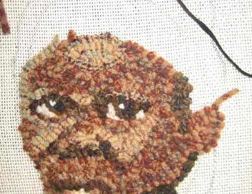 Rug hooking on the Widecut Face Completed