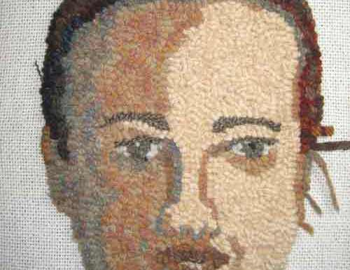 Rug Hooking a face: Adding Hair