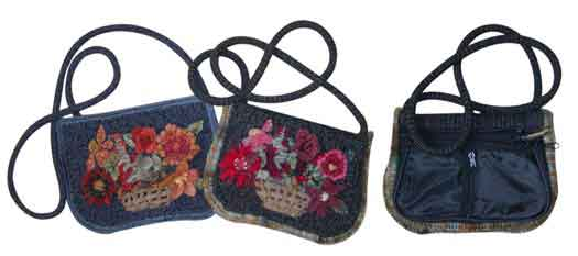 Pencil Pouch rug hooked Purses