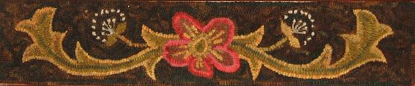 Annie's Scrolls rug hooked stair riser