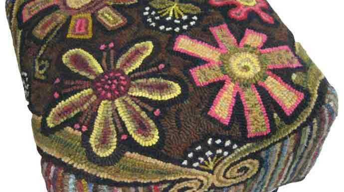 Annie's Flower Power rug hooked footstool