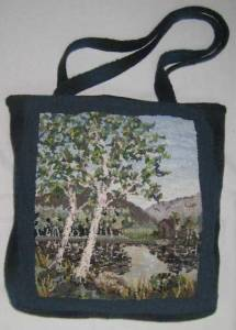 Birches rug hooked tote bag