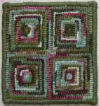 Beginner Square rug hooked coaster