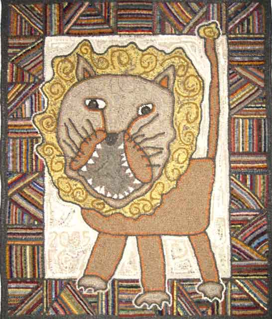 Jacob's Lion hooked rug