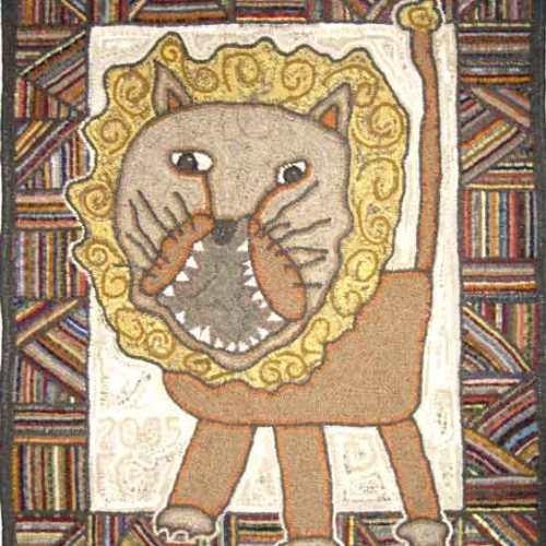 Jacob's Lion hooked rug