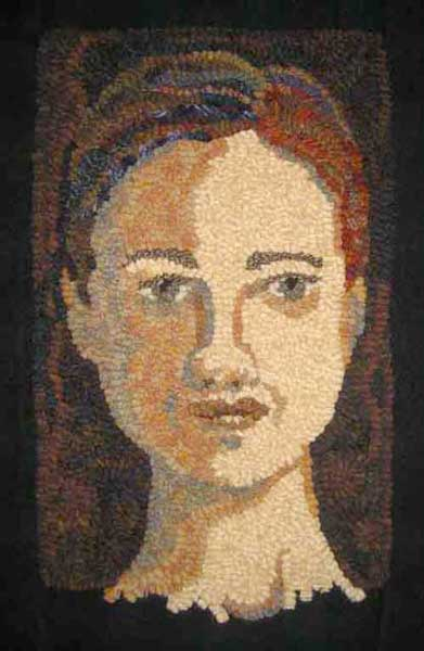 Southern Woman rug hooked portrait