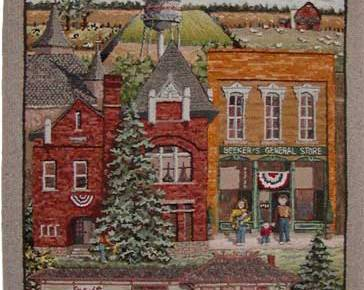 Village of Pemberville hooked rug
