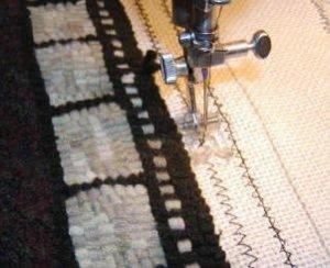 Finishing Hooked Rug-adding straight stitching