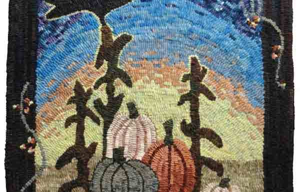 Pumpkin with crow hooked by Mala Jones