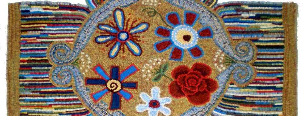 Footstool pattern rug hooked by Nancy Weaver.
