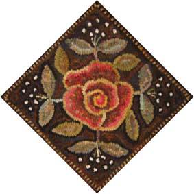 Rose Quilt Block rug hooking pattern