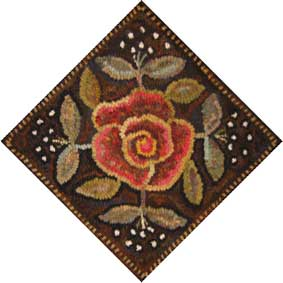 Rose Quilt Block rug hooking pattern