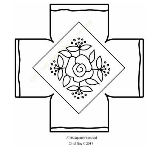 Rug hooking pattern for footstool Rose Diamond
