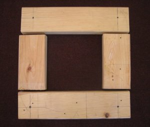 Layout 2x4 for construction of rug hooked footstool frame