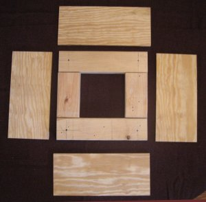 4 sides layed out for the rug hooked footstool frame
