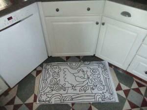 Chicken Doodle Do Rug Hooking Pattern in my kitchen