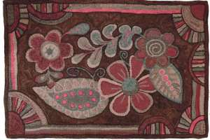 Floral Tangle rug hooking pattern by Diane Luszcz