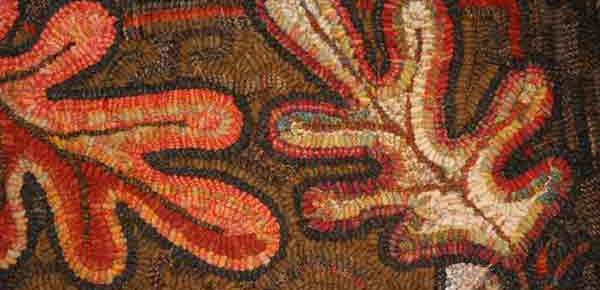 Oak and Acorns rug hooking pattern hooked by Karen Buchheit