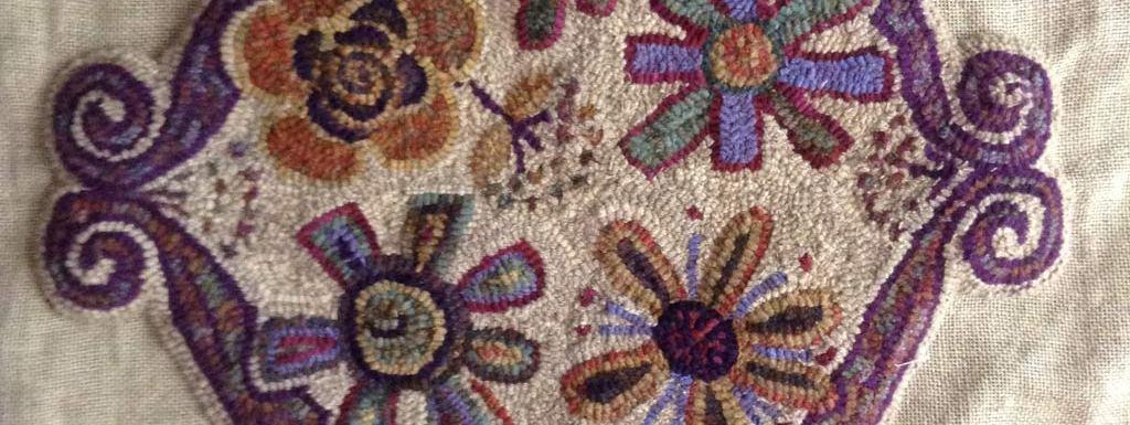 rug hooked footstool pattern