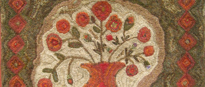 Choosing my pattern for Sauder Village rug hooking workshop with Lucille Festa