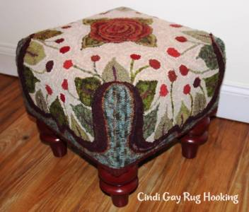 rug hooked footstool, pattern by Cindi Gay, Rosenweeds, hooked by Suz White