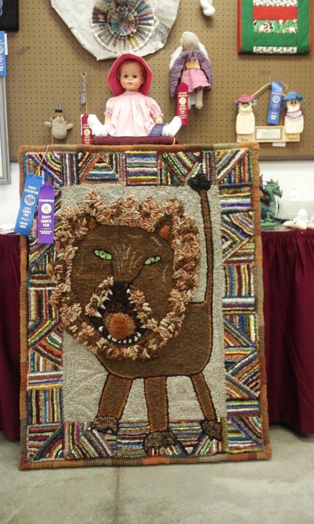 Kathy Litton Hooked rug, pattern design by Cindi Gay