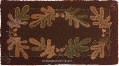 Oak and Acorns pattern designed by Cindi Gay, hooked by Barb Amsrud