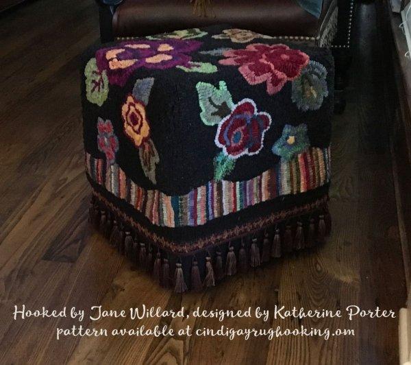 Pocketful footstool designed by Katherine Porter, available at cindigayrughooking.com