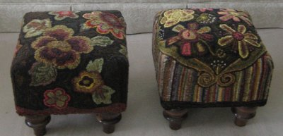 Closeup of two footstools hooked by Pat Mensing